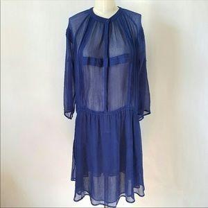 Sheer Blue Drop Waist Dress
